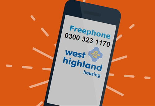 Cartoon mobile with West Highland new freephone number