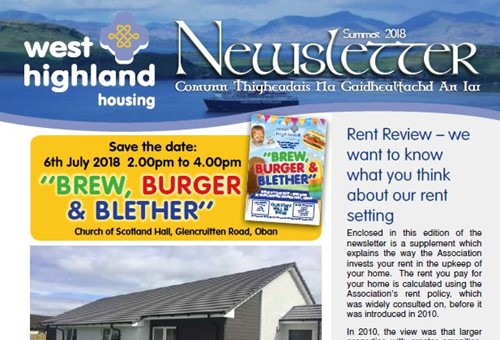 Front page of West Highland's summer 2018 newsletter.